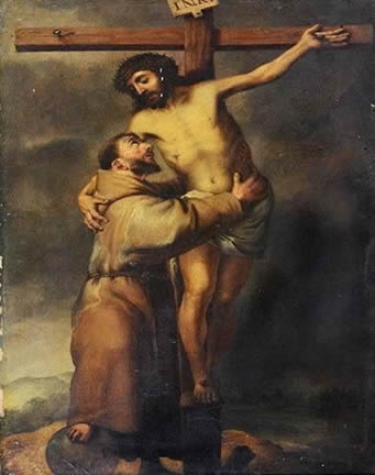 Image result for St. Francis embracing Jesus